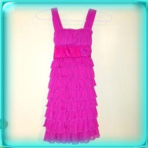 Berry Fucshia layered ruffled party dress girls 7